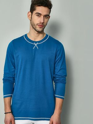Blue Saint Solid Crew Neck Long Sleeves T-shirt