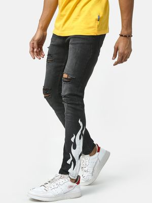 IMPACKT Ripped Print Distressed Jeans