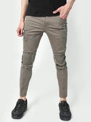 Kultprit Chain Detailing Distressed Patched Trousers