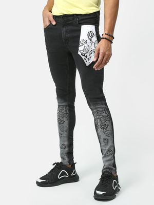 Kultprit Stone Wash Patched Jeans