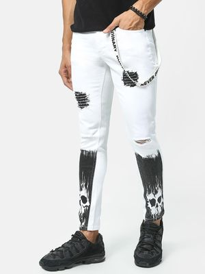 Kultprit Ripped Skull Printed Jeans