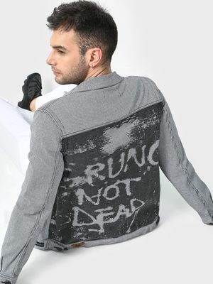 Kultprit Check Print Back Panel Slogan Jacket