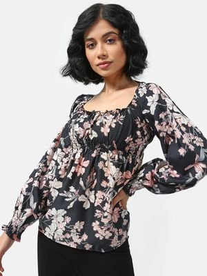 Cation Floral Print Square Neck Top