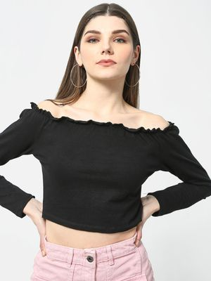 Cation Paperbag Bardot Off-Shoulder Top