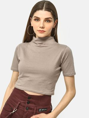 Cation Ribbed Turtle Neck Crop Top