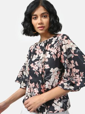Cation Floral Print Pleated Top