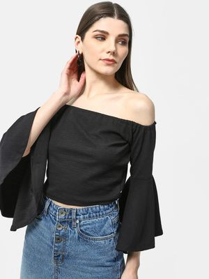 Cation Solid Off Shoulder Crop Top