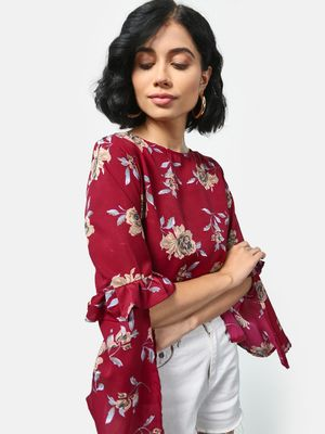 Cation Floral Print Ruffle Sleeve Top