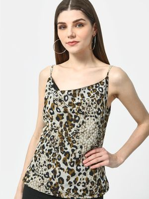 Cation Leopard Print Strappy Top