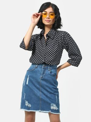 Cation Polka Dot Printed Shirt
