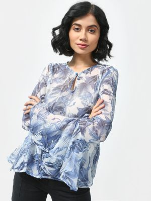 Cation Floral Print Ruffle Sleeves Top