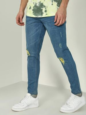 REALM Distressed Patch Skinny Fit Jeans