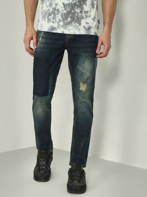 REALM Distressed Patchwork Slim Fit Jeans