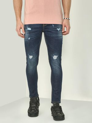 REALM Mid-wash Distressed Skinny Fit Jeans