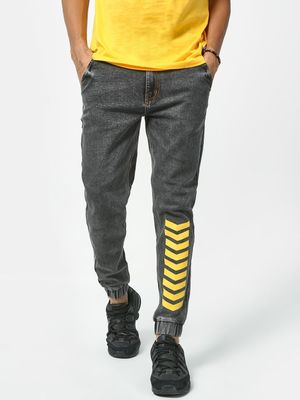 REALM Printed Patch Slim Fit Jeans