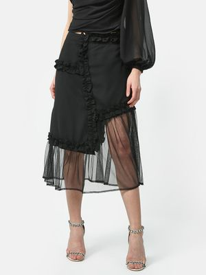 ATTIC SALT Asymmetric Frill Lace Skirt