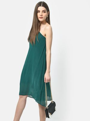 ATTIC SALT One-Shoulder Overlay Dress