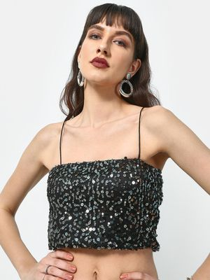 ATTIC SALT All Over Sequin Strappy Crop Top