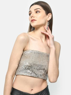 ATTIC SALT Metallic Sequin Crop Top