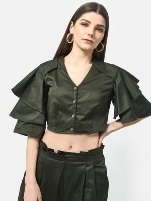 ATTIC SALT Satin Ruffled Sleeve Crop Top