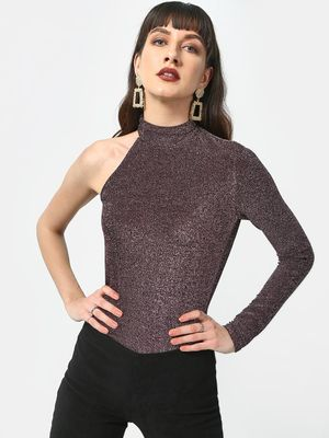ATTIC SALT Wine Sequin One Shoulder Top