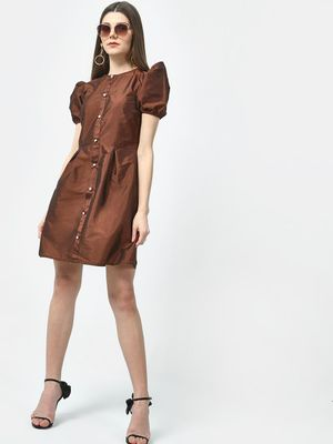 ATTIC SALT Puff Sleeve Satin Dress