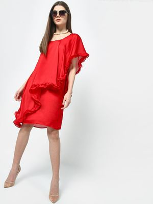 ATTIC SALT One-Shoulder Overlay Frill Dress