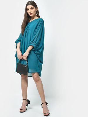 ATTIC SALT Turquoise Cinched Waist Dress