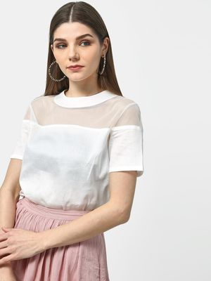 ATTIC SALT Mesh Round Neck Top