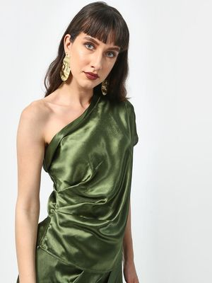 ATTIC SALT Satin One-Shoulder Ruched Blouse