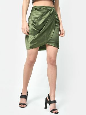 ATTIC SALT Satin Ruched Asymmetric Skirt