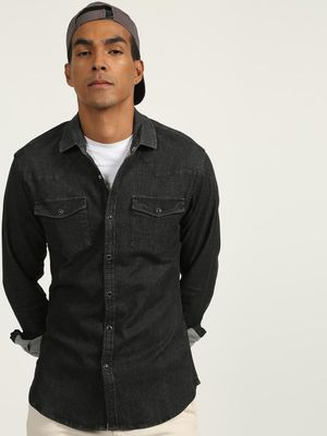 KOOVS Acid-Wash Twin Patch Pocket Shirt