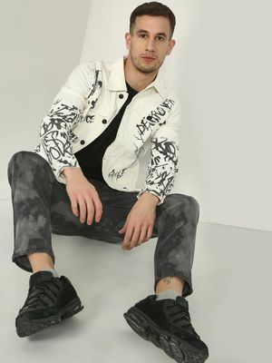 Kultprit Back Skull Text Splatter Print Jacket