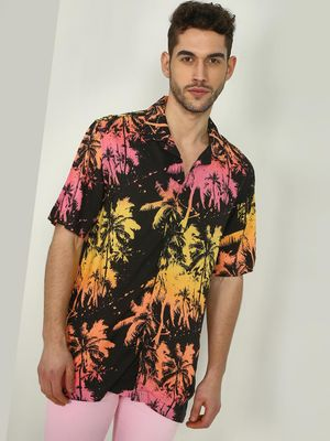KOOVS Palm Splatter Print Cuban Shirt