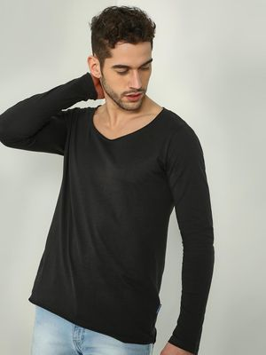 Blue Saint Solid Scoop Neck Long Sleeves T-shirt