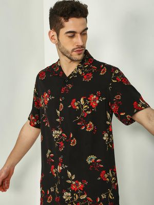 KOOVS Tropical Floral Print Cuban Shirt
