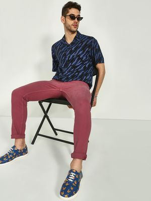 KOOVS Abstract Print Cuban Collar Shirt
