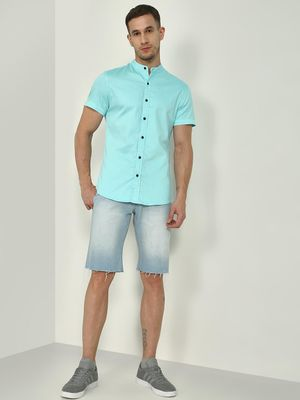 Blue Saint Grandad Collar Slim Shirt