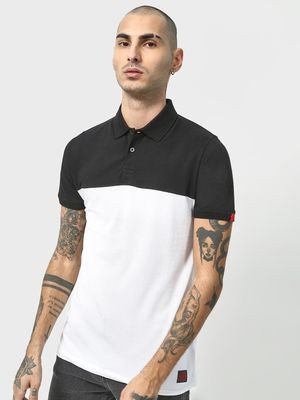 Cult Fiction Color Block Pique Polo Shirt