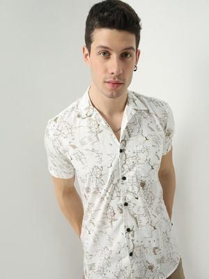 AMON All-Over Graphic Map Print Shirt