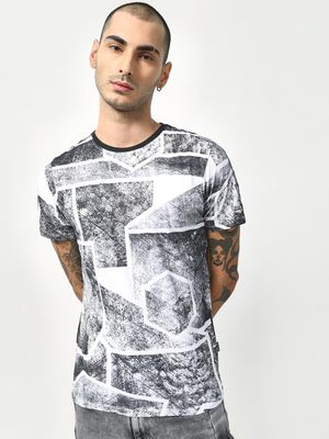 Cult Fiction All Over Abstract Print Crew Neck T-shirt
