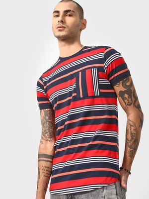 Cult Fiction Vertical Stripe Front Patch Pocket T-shirt