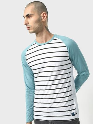 Cult Fiction Color-Block Horizontal Stripe Round Neck T-shirt