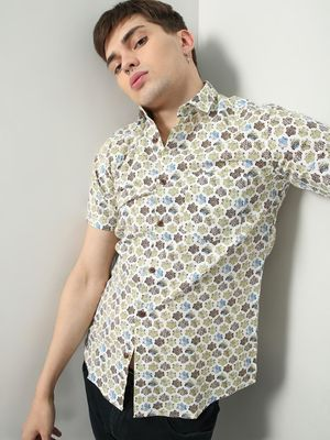 AMON All-Over Batik Print Slim Fit Shirt
