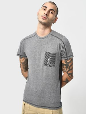 Cult Fiction Melange Color Block Patch Pocket T-shirt