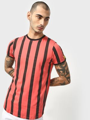 Cult Fiction Vertical Stripe Print T-Shirt