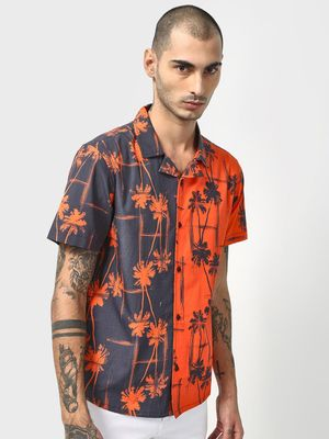 SID & SOM Tree Print Cuban Collar Shirt