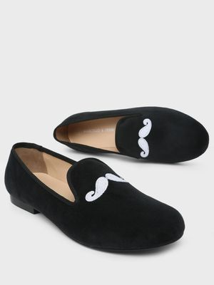 Marcello & Ferri Moustache Embroidered Loafers