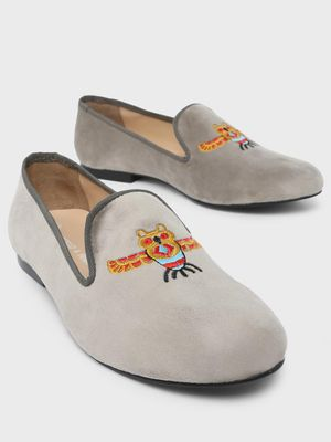Marcello & Ferri Owl Embroidered Loafers