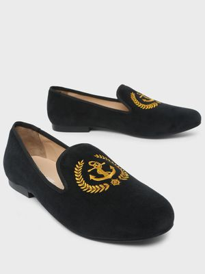 Marcello & Ferri Anchor Embroidered Loafers